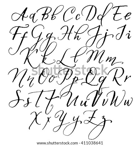 ... alphabet in the style of lettering and calligraphy. Hand drawing pen