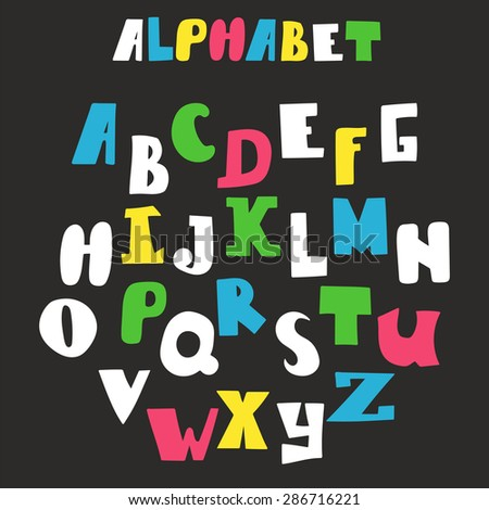 Vector alphabet isolated on black background. Hand drawn letters. Vector illustration