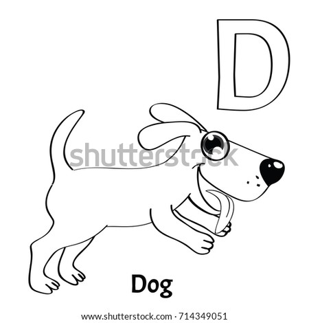 vector alphabet letter d coloring page dog - Letter D Coloring Pages