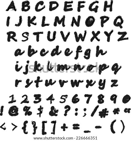 Vector alphabet.Letters of the alphabet written with a brush.