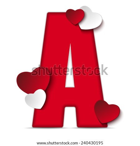 Vector - Alphabet Letters With Red Heart Valentine Day - stock vector