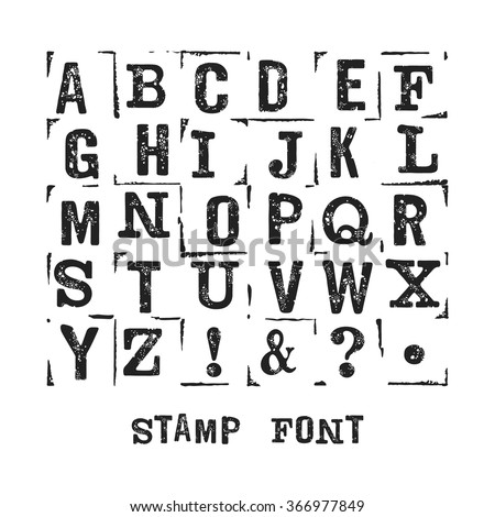 Vector alphabet. Modern stamps letters with grunge texture. Easy recolor. - stock vector