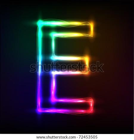Vector alphabet.  Neon  letter E - stock vector