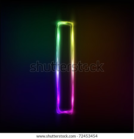 Vector alphabet.  Neon  letter I - stock vector
