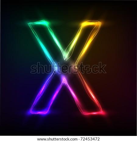 Vector alphabet.  Neon  letter X - stock vector