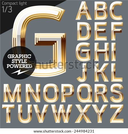 Vector alphabet of beveled golden letters. Compact light. File contains graphic styles available in Illustrator. Set 1 - stock vector