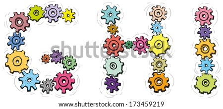 Vector alphabet of cheerful caricature hand-drawn characters consisting of spinning gears. Letters G, H, I isolated on white background - stock vector