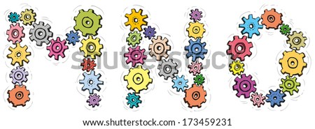 Vector alphabet of cheerful caricature hand-drawn characters consisting of spinning gears. Letters M, N, O isolated on white background - stock vector