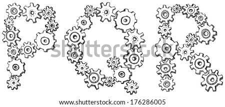 Vector alphabet of cheerful caricature hand-drawn characters consisting of spinning gears. Letters P, Q, R isolated on white background - stock vector