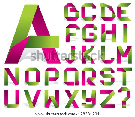 vector alphabet of folded color tape - stock vector