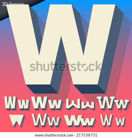 Vector alphabet of simple and generic 3d letters. Letter w - stock vector