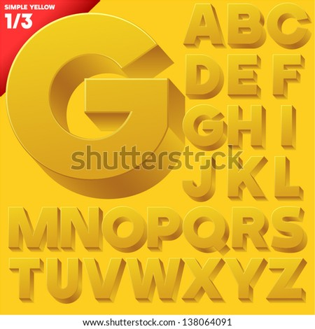 Vector alphabet of simple 3d letters. Sans bold. Uppercases Yellow - stock vector
