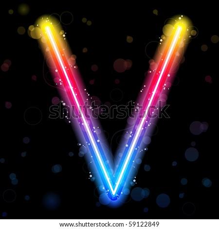 Vector - Alphabet Rainbow Lights  Glitter with Sparkles - stock vector