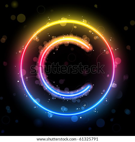 Vector - Alphabet Rainbow Lights in Circle Button - stock vector