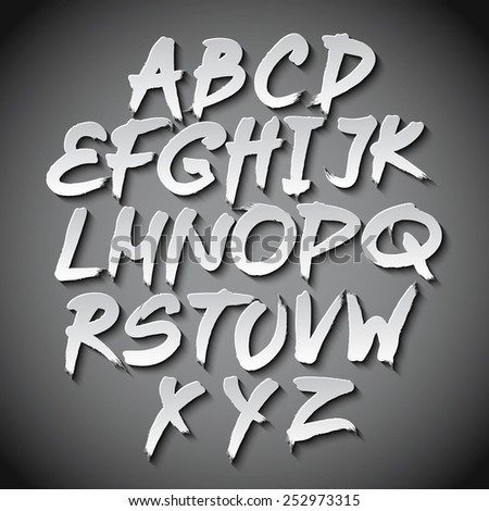 Vector Alphabet Set art grey shadow font typo - stock vector