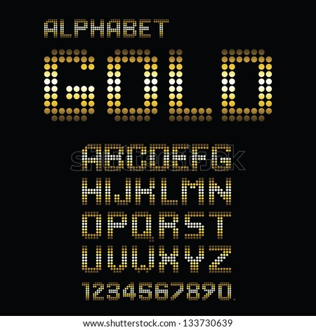Vector Alphabet Set. Golden polka dots. Eps10 - stock vector