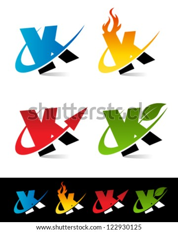 Vector alphabet set of various swoosh K logo icons - stock vector