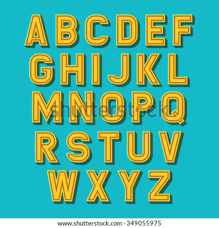 Vector alphabet set. Retro font - stock vector