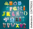 Vector Alphabet Set with eyes, on blue background - stock photo