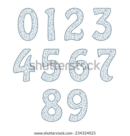 Vector alphabet symbols of snowflakes. Numbers 12= 2 3 4 5 6 7 8 9 0 - stock vector