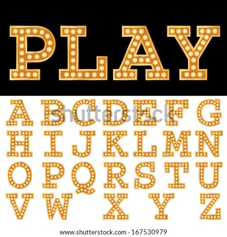 Vector alphabet with bulbs. - stock vector