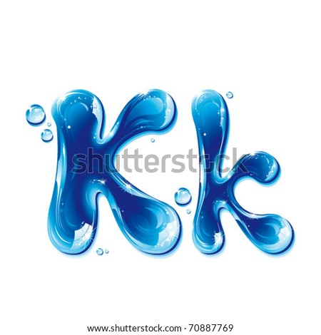 vector alphabetical water letter K - stock vector