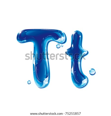 vector alphabetical water letter T
