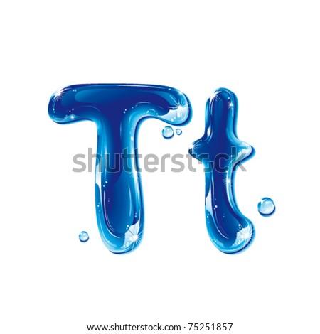 vector alphabetical water letter T - stock vector