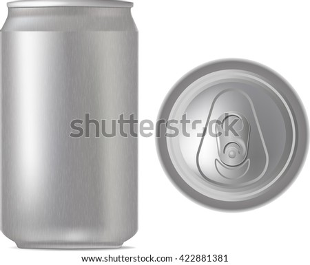 Vector aluminum can, front view, top view; isolated on white