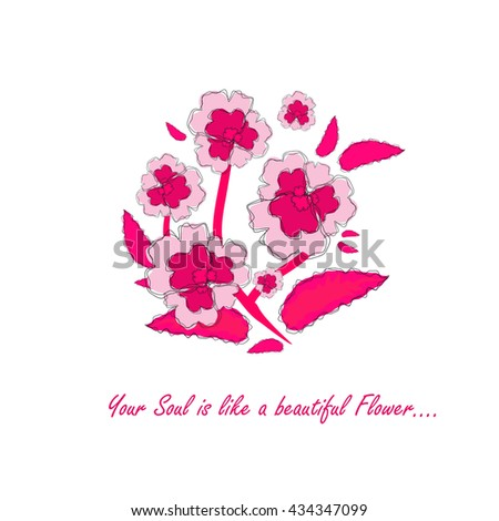 Vector amazing flower design. Beautiful greeting card with romantic phrase. Flat, minimalistic, simple style. Sweet viola flower, pink color. Botanical card series, good for engagement, wedding