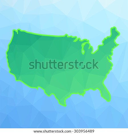 Vector America Green Map Isolated on Blue Background