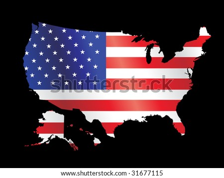 vector american flag with black grunge