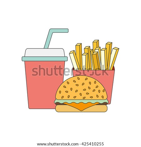 Vector american food concept. Fast food cafe, restaurant. Flat objects: burger, french fries, soda. Junk unhealthy eating. Obesity concept flat infographics. American cuisine flat line vector template