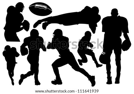 vector american football players silhouette - stock vector