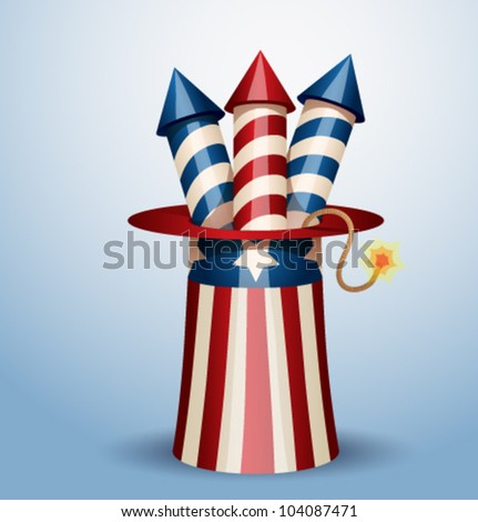 Vector american hat with firework - stock vector