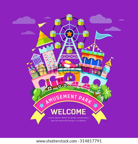 Vector Amusement park flat concept design, colorful background, illustration - stock vector