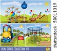 Vector amusement park illustrations. - stock