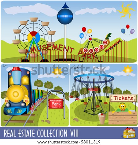 Vector amusement park illustrations. - stock vector