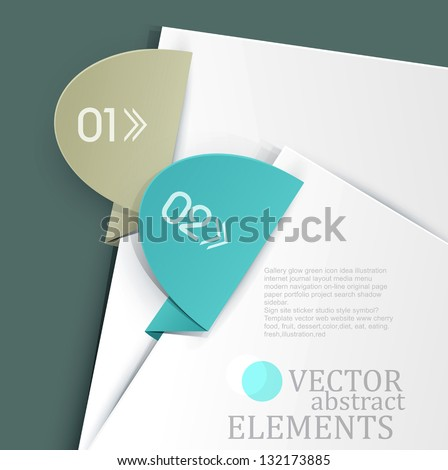vector, an office background with white sheets of paper and colored tabs - stock vector