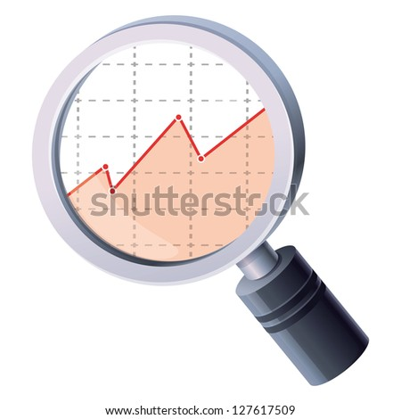 Vector analytics concept - magnifiyng glass and graph - stock vector
