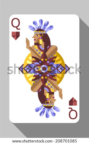 Vector ancient Aztec symbols, decorations and playing card. Queen