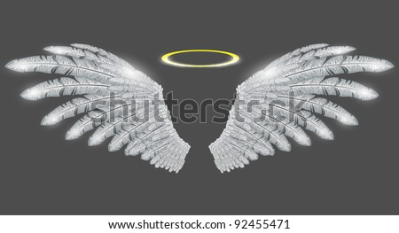 vector angel wings and halo - stock vector