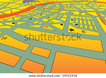 Vector angled streetmap of a generic city with no names - stock vector