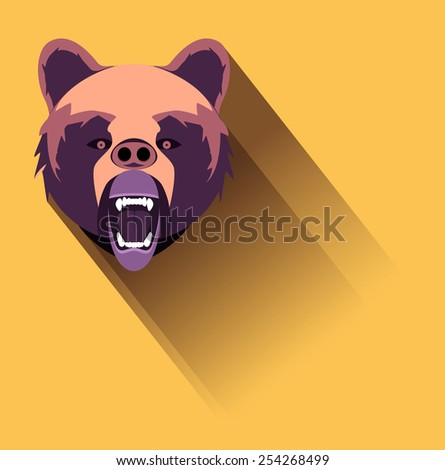 Vector Angry Bear Flat Design, Eps 10 Vector, Transparency Used, Raster Version Available - stock vector