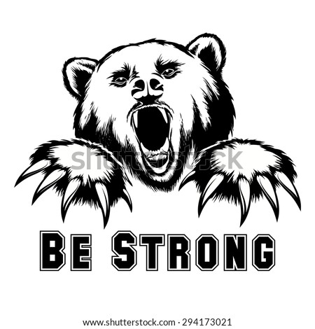 Vector angry bear head. Angry grizzly, powerful predator, strength and wildlife, claw and mammal - stock vector