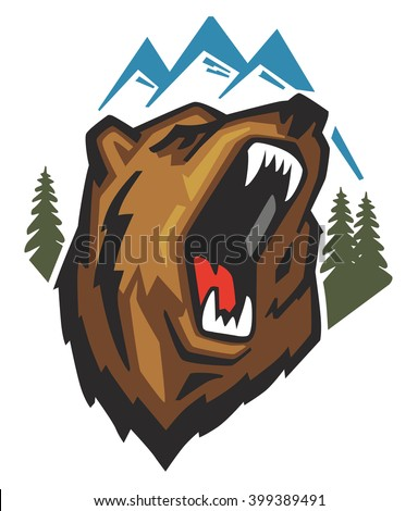 vector Angry Bear Head on white background - stock vector