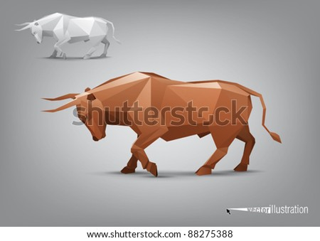 Vector angry bull stylized triangle polygonal model - stock vector