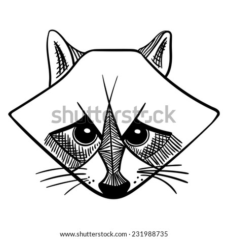Vector angry raccoon in black and white - stock vector