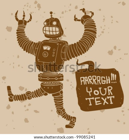 vector angry robot - stock vector