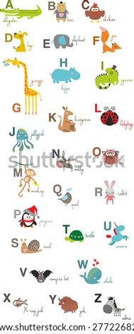 Vector Animal Alphabet - stock vector